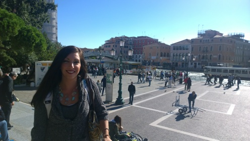 Outside of the train station in Venice on the Grand Canal